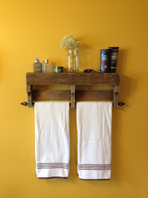 reserved rustic pallet towel rack shelf bathroom wall hanging