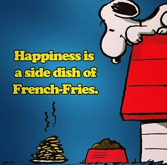 """Happinesa is a side of french fries."""" #snoopygram #peanuts #snoopy"""