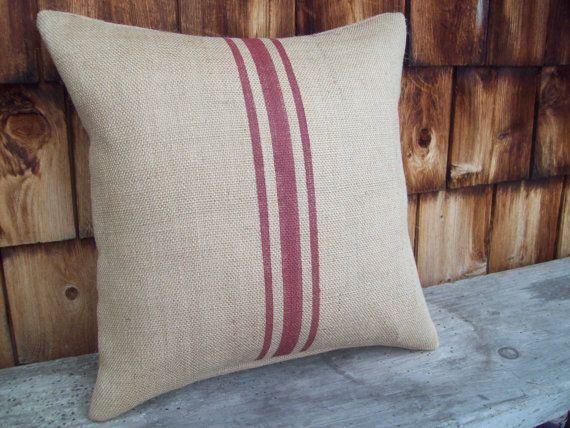 Throw Pillow Covers Farmhouse : Farmhouse Pillow Cover - Grain Sack Style Burlap Pillow Cover with Ba?