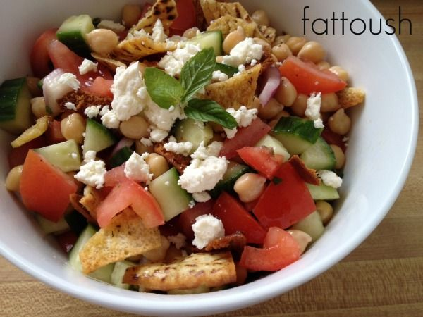 Fattoush salad Cucumber, tomato, red onion, feta, and baked pita chips ...