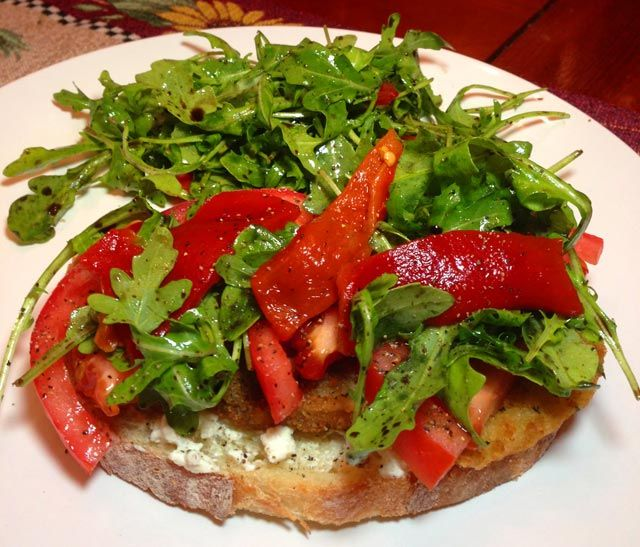 Yummy! Eggplant, Roasted Red Pepper & Arugula Sandwich - see more at ...