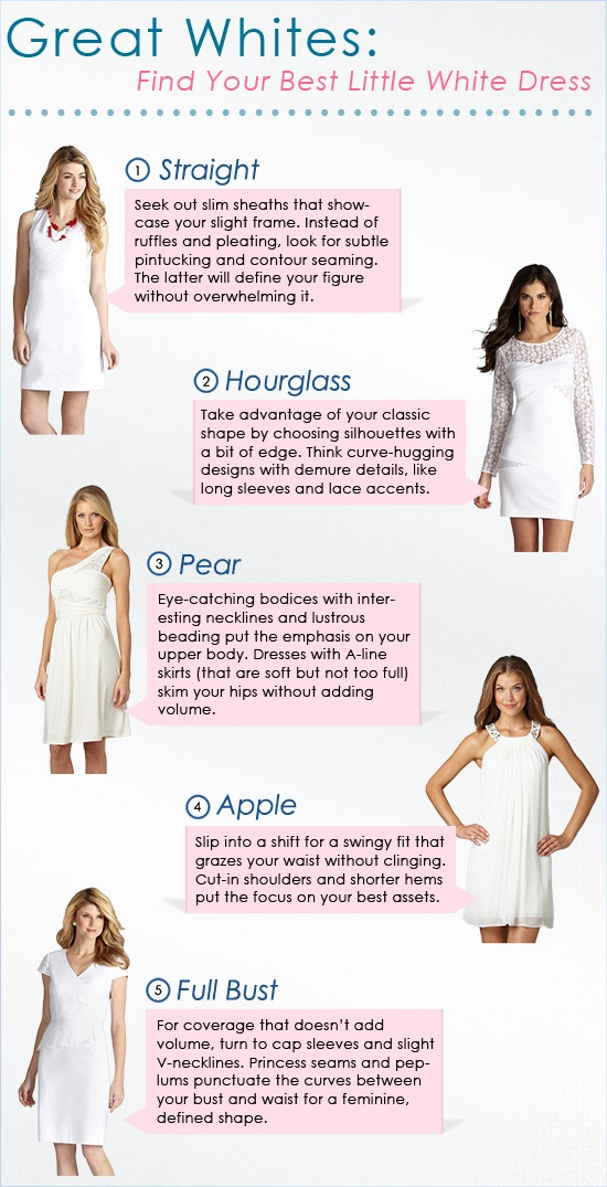 Great Whites: White Dresses by Body Type