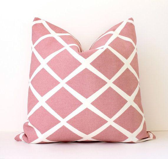 Pale Pink Decorative Pillows : Pale Pink Lattice decorative Designer Pillow Cover 18 cream white Dia?
