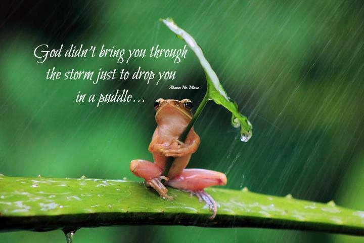 God didn't bring you through the storm to drop you in a puddle!