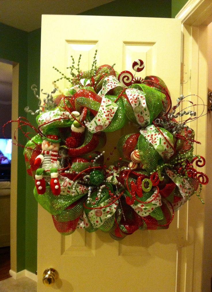 Deco mesh wreath christmas ideas pinterest for Deco christmas decorations