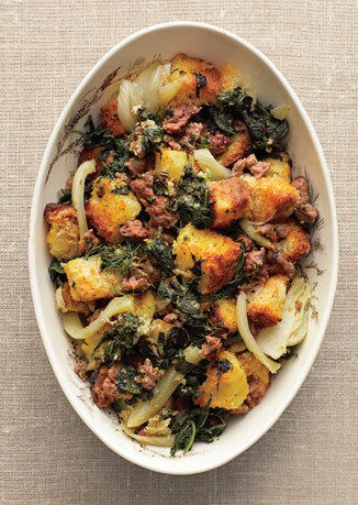 Spinach, Fennel, and Sausage Stuffing with Toasted Brioche | Recipe