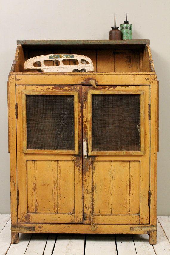 Mustard Yellow Antique Indian Industrial Farm Chic Kitchen Cupboard