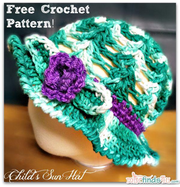 Free Crochet Pattern For Easter Bonnet : Crochet How To ? Free Kids Sun Hat or Easter Bonnet Pattern