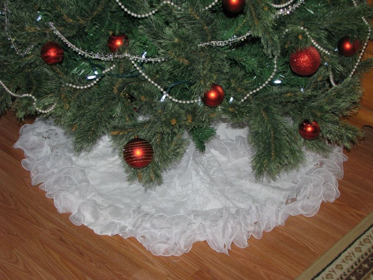 Christmas tree skirt i made from my wedding dress made one for each