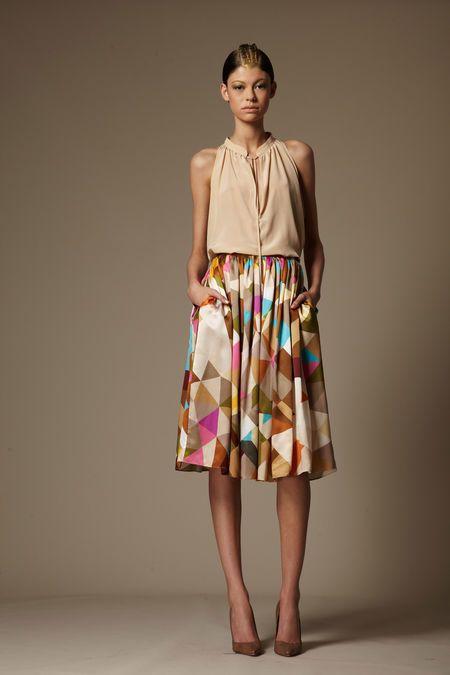 Tribune Standard Spring 2013 - nude blouse + geo skirt