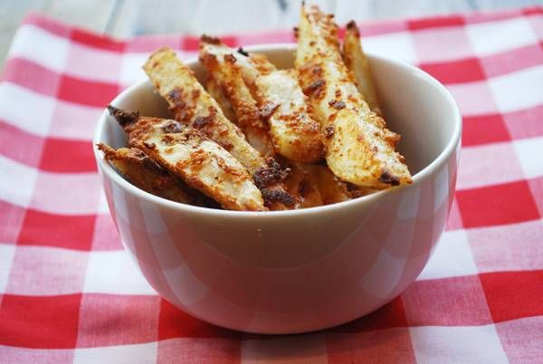 Crispy oven fries coated with egg whites