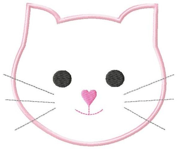 Kitty Cat Face Machine Embroidery Applique Design