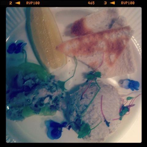smoked mackerel pate with fresh mackerel tartare on cucumber papardelle and melba toast