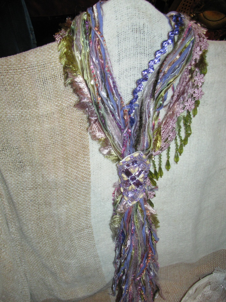 yarn and ribbon scarf Clothing, Scarves, crochet Pinterest