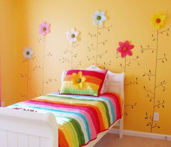 Flowers girls room paint ideas picture concept for Girls bedroom paint ideas