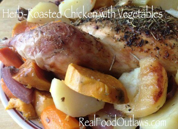 Herb Roasted Chicken w/ Sweet Potatoes | Dinner | Pinterest