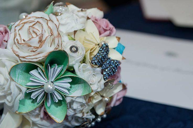 My DIY paper flower and brooch bouquet. | My Steampunk Wedding | Pint ...