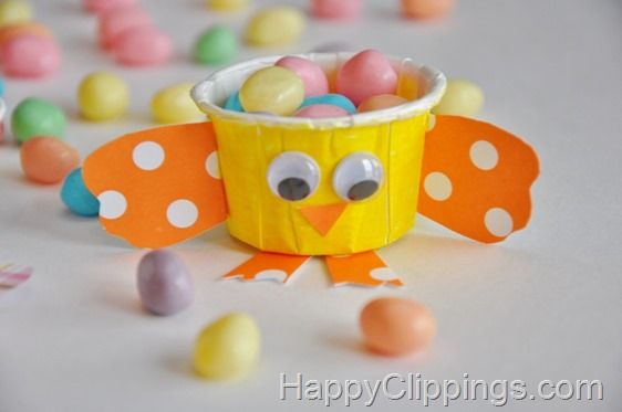 Chick Mini Party Cup Craft #party #craft #chick #spring #easter