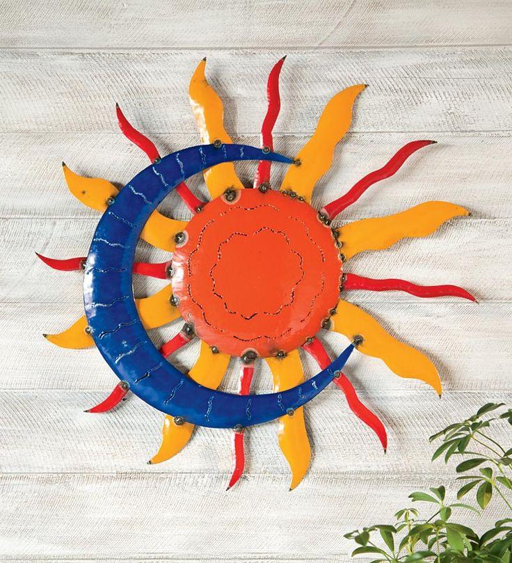 Handcrafted Sun And Moon Metal Wall Art Garden Pinterest
