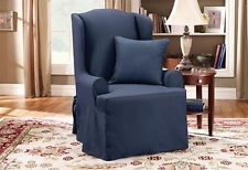 Sure Fit Slip Cover Slipcover Twill Supreme Wing Chair Saphire Blue
