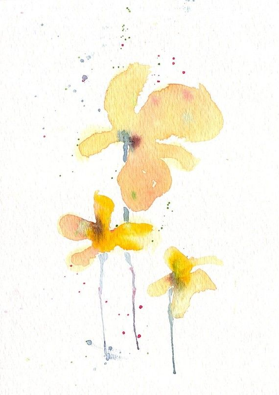Dinah 39 s daisy original watercolor for How to paint simple watercolor flowers