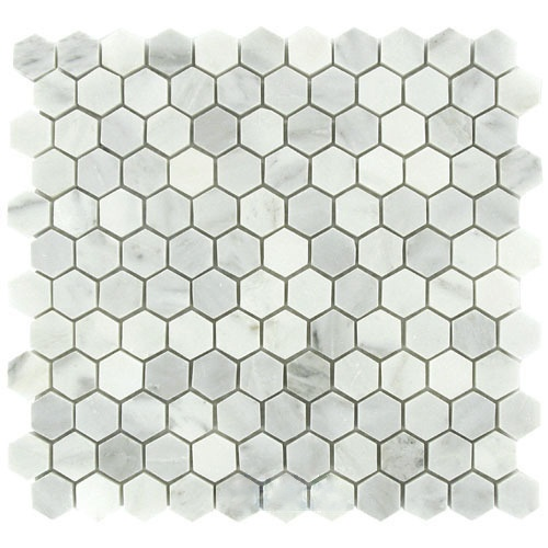 "Carrara (Carrera) Venato Hexagon Honed 1"" Mosaic Tile"