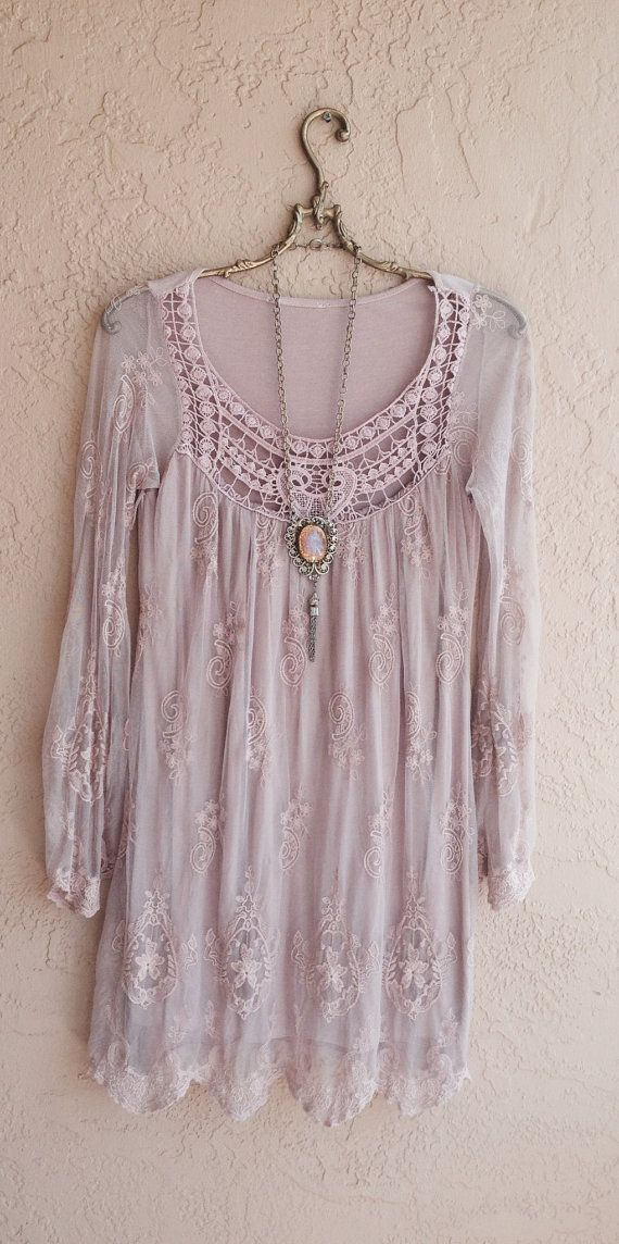 Blush pink Sheer Bohemian embroidered Dress with lace   Great Gatsby Marie Antoinette Bohemian Hippie Gypsy