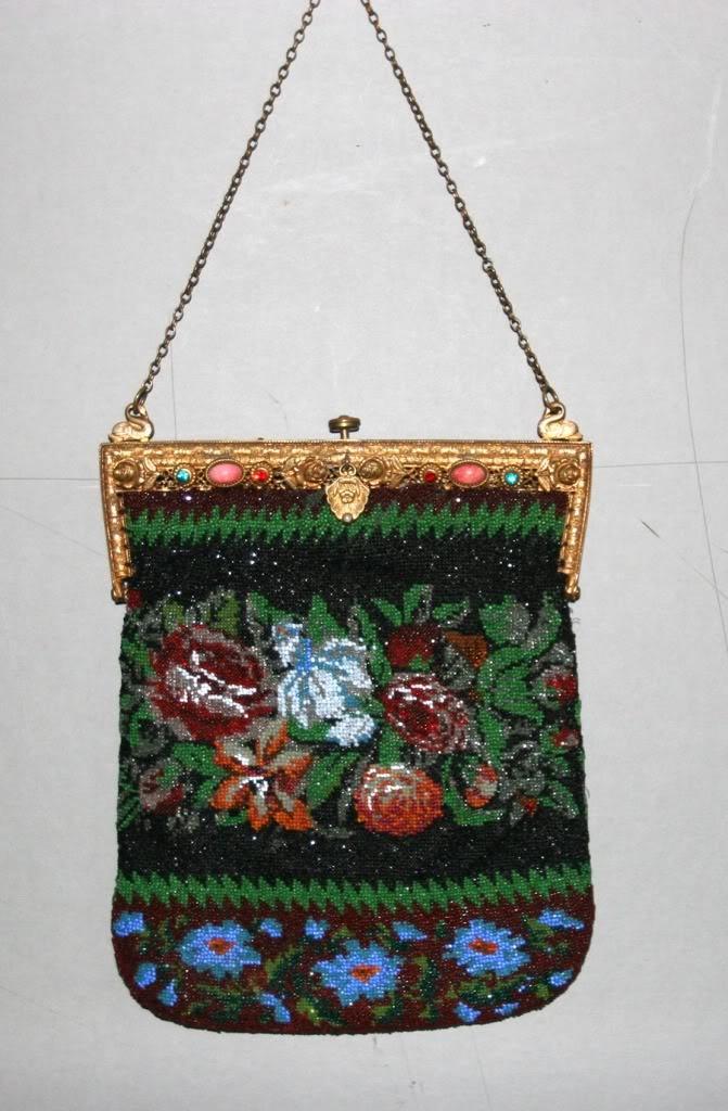 antique beaded purse w jeweled top kralentasjes enz