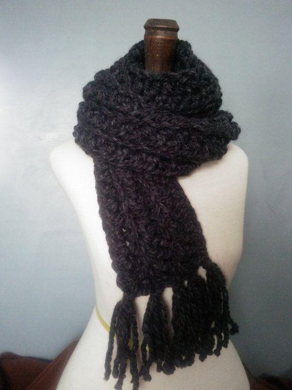 Crochet Mens Scarf : Mens Hand Crochet Chunky Scarf Womens Long Oversize Unisex Fringed Sc ...