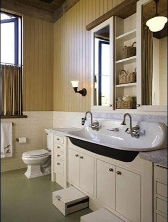 Vanity Stools Bathroom on It Require A New Vanity  Kids Bathroom With Undercounter Step Stool