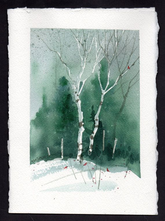 Hand painted watercolor card Christmas card scenes to paint