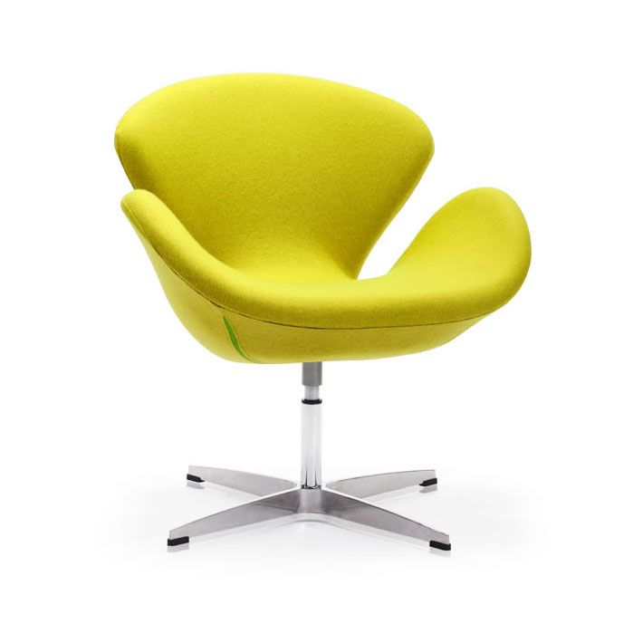 Modern curved swivel chair in lime for Modern swivel chair