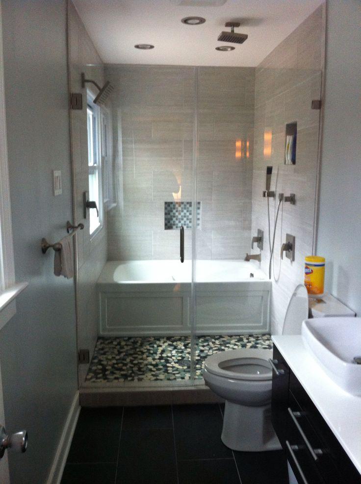 Narrow Bathroom Ideas With Tub Narrow bathroom with bath tub behind ...