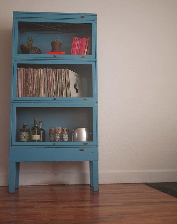 vintage steel barrister bookcase bright blue. Black Bedroom Furniture Sets. Home Design Ideas