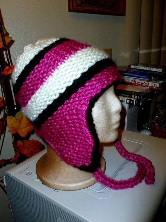 Loom Knit Striped Ear-flap Hat Pattern