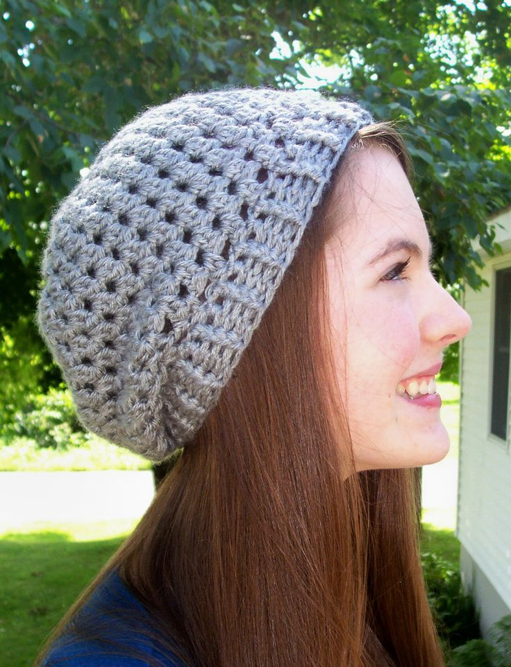 Crochet Patterns Slouchy Beanie : Slight Slouch Hat PDF Crochet Pattern - Adult Slouchy Beanie.