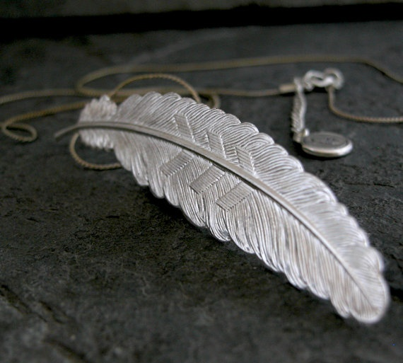 Feather Charm Necklace,$65