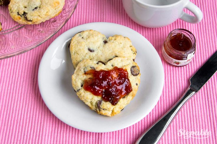 Heart-Shaped Chocolate Chip Scones with Strawberry Jam   Recipe