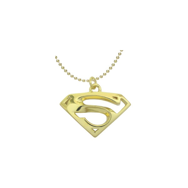 superman gold pendant charm 9k yellow gold solid jewelry