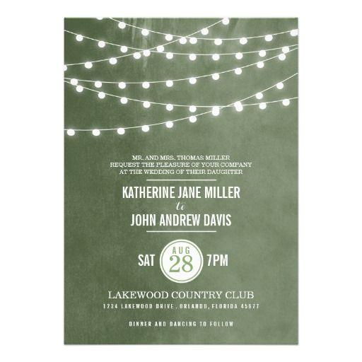 String Lights Wedding Invitation : Summer String Lights Wedding Invitation