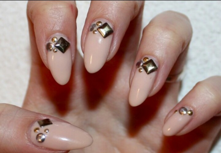 nude stiletto nails with 3D. nail art  nails  Pinterest