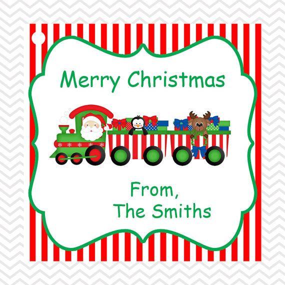 Christmas Train Diy Printable Personalized Square Tags