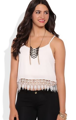 Deb Shops Flowy Tank with Spaghetti Straps and Crochet Hem $14.25