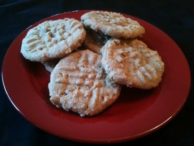 1 Cup of Peanut Butter (Chunky or Creamy)      1 Cup of Sugar      1 Egg      1/2 Tsp Vanilla Extract (optional)      Mix all ingredients together in bowl.    Place rounded spoon fulls onto cookie sheet    Smoosh down with fork to get grid lines    Bake at 350 degrees for 12-14 minutes    Let cool  Makes approx 12 cookies