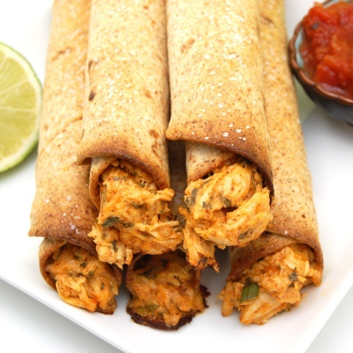 Creamy Baked Chicken Taquitos packed with shredded chicken, salsa ...