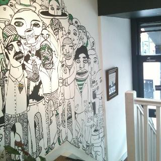 Coffee shop wall decor decor ideas pinterest for Mural coffee shop