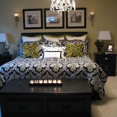 Master bedroom black and white green home decor pinterest for Master bedroom black and white ideas