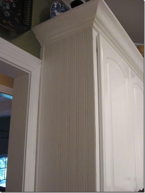 beadboard wallpaper on cabinet ends diy do it