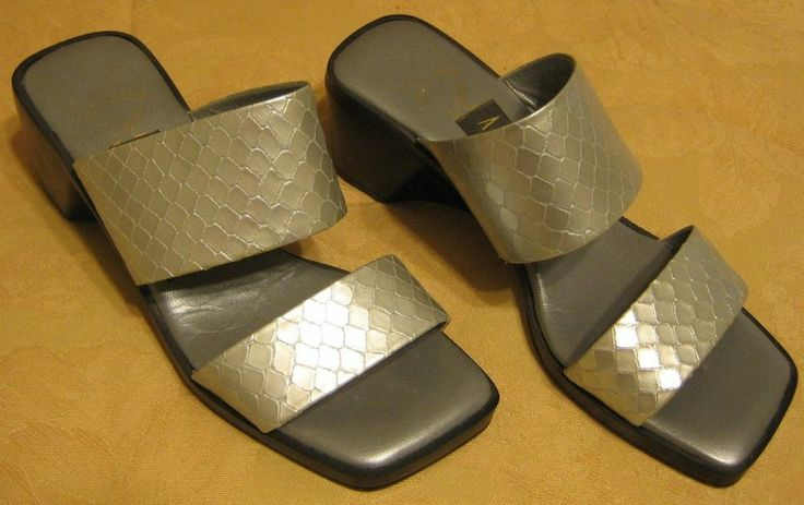 Amalfi shoes / wedge sandals / size 6 / silver snakeskin / made in