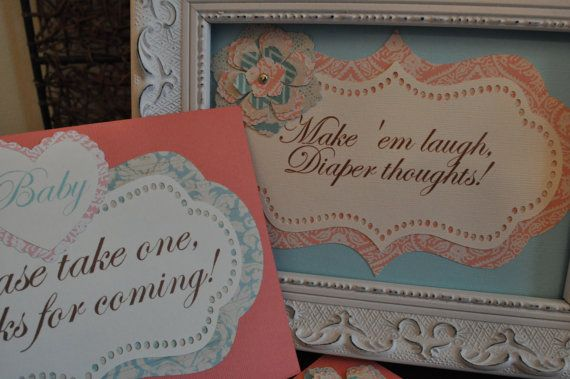 Baby shower signs bridal shower signs menu cards party by Robin519, $12.00
